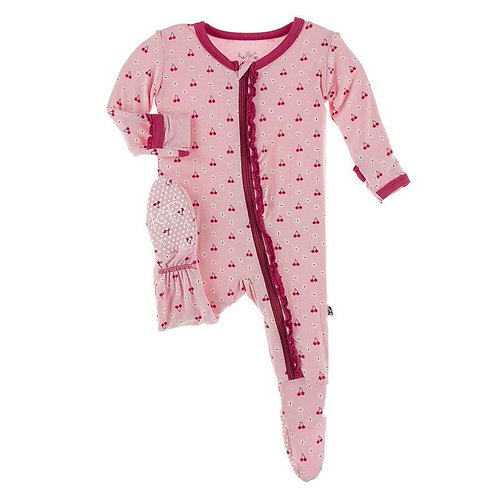 Kickee Pants Zippered Ruffle Footie Lotus Cherries and Blossoms
