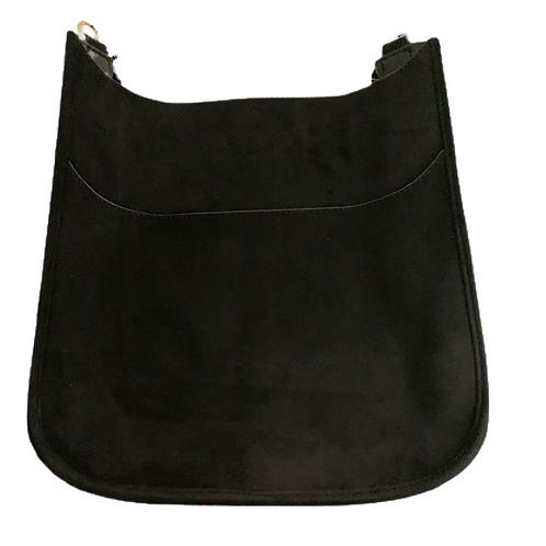 Black Faux Suede Messenger Bag