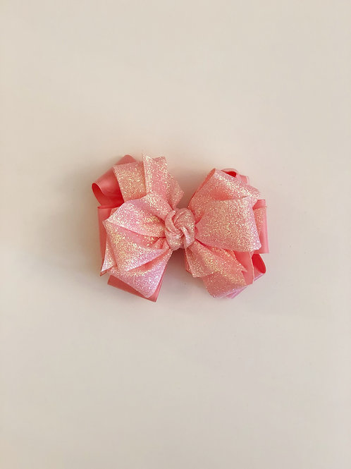 Pink Satin and Glitter Layered Bow
