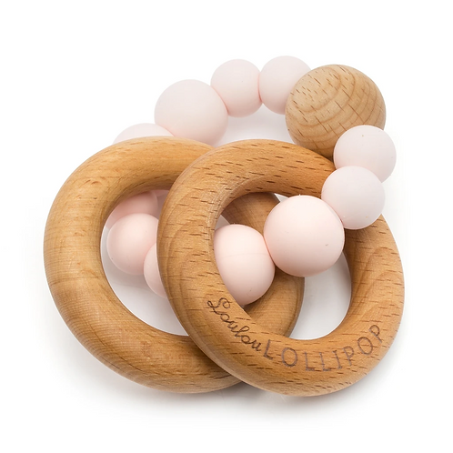 Bubble Silicone and Wood Teether - Pink Quartz