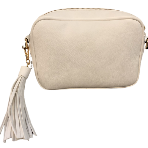Pebbled Tassel Bag with Zip Top- strap sold separately