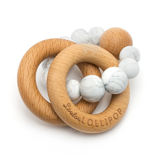 Bubble Silicone and Wood Teether - Marble