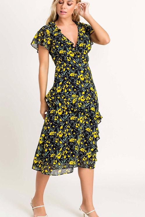 Black & Yellow Floral Midi Dress