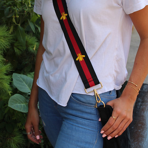 Black and Red Stripe Strap with Gold Bee