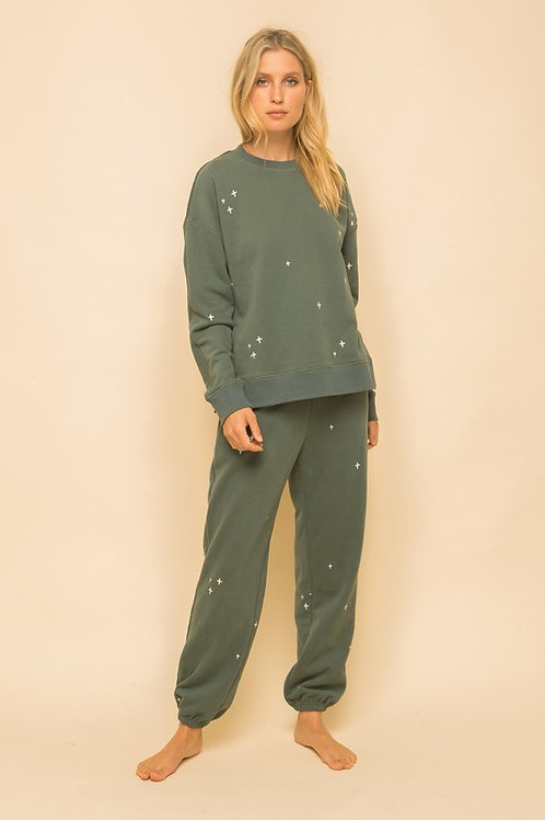 Green Embroidered Sweatsuit