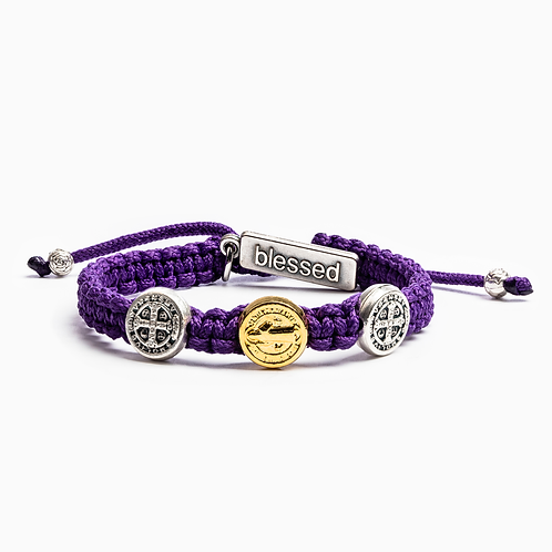 Purple Benedictine Blessing Bracelet For Kids
