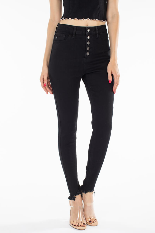 Black High Rise Button Down Fray Skinny Jeans