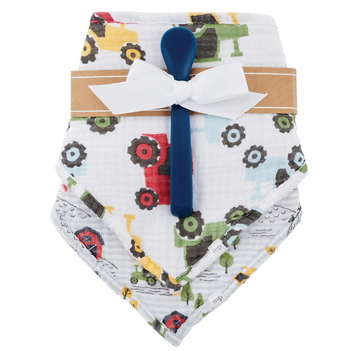 MudPie Tractor Bib and Spoon Set