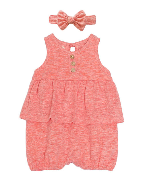 Coral Romper and Bow Set