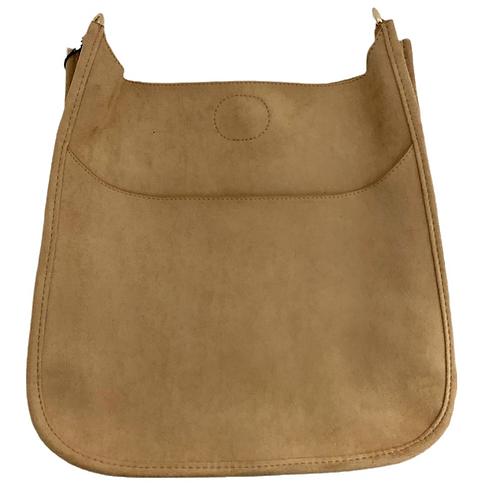 Camel Faux Suede Messenger Bag