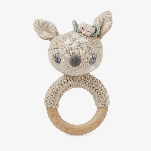 Fawn Wooden Baby Rattle