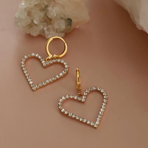 Heart Hoop Huggies Earrings