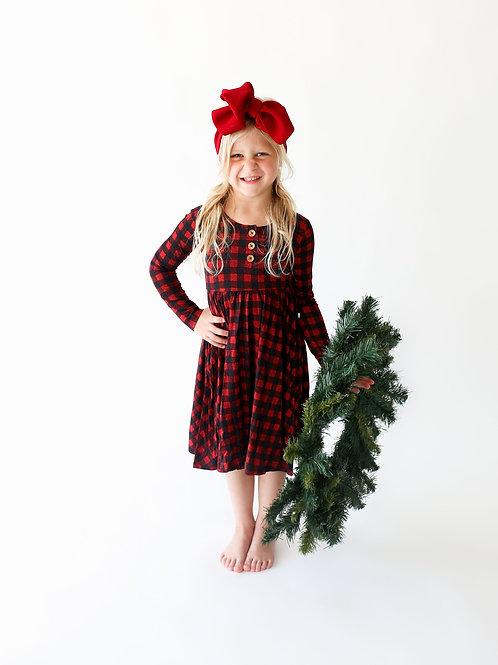 Posh Peanut Grayson Long Sleeve Henley Twirl Dress