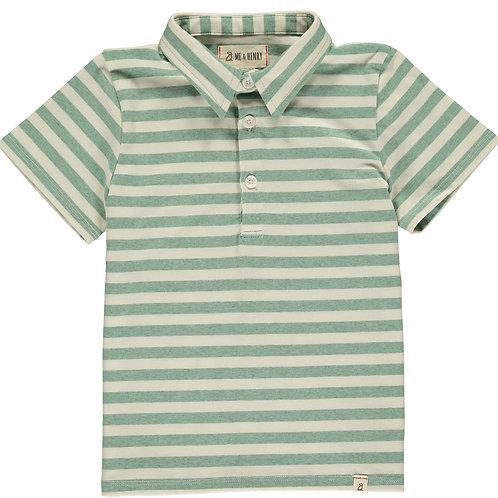 Baby Boy Green/cream stripe polo