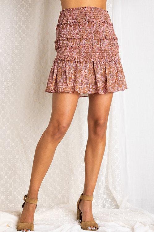 Brown Floral Mini Skirt