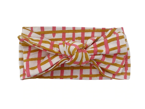 Pink Check Knot Headwrap