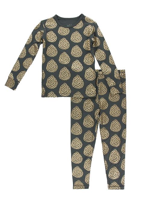 Kickee Pants Pewter Pinecones Pajama Set