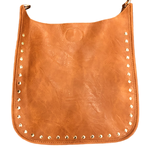Classic Faux Leather Messenger w/Studs-straps sold separately