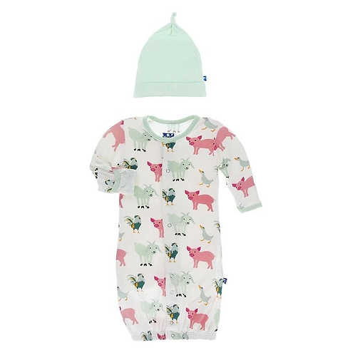 Print Ruffle Layette Gown Converter & Knot Hat Set