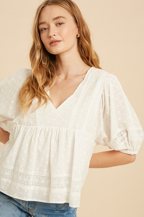 White Embroidered Babydoll Top