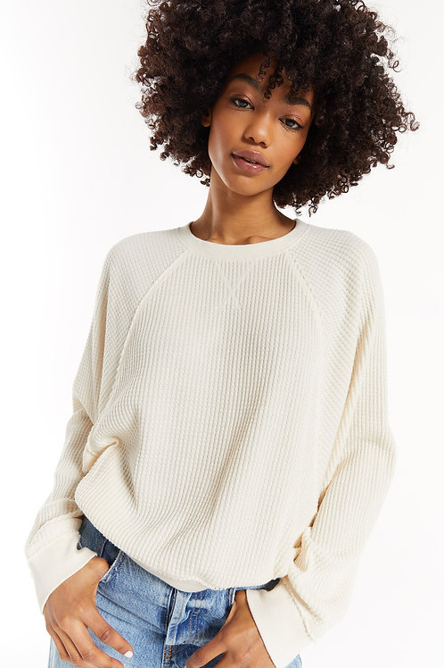 Z-Supply Claire Waffle Long Sleeve in Sand Dollar
