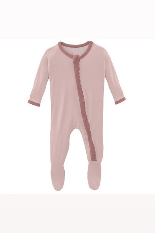 Kickee Pants Ruffle Footie in Baby Rose with Antique Pink