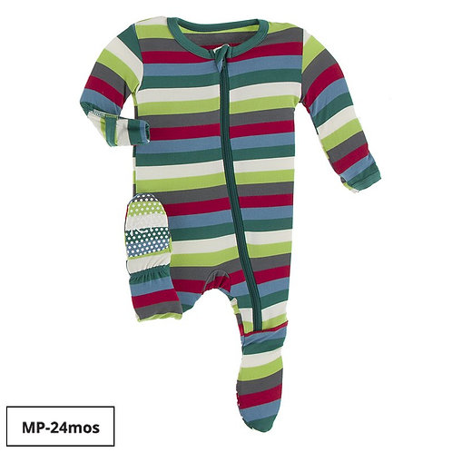 Kickee Pants 2020 Multi Stripe Footie