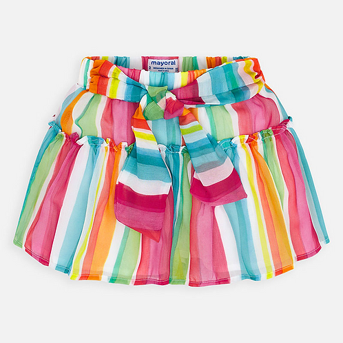 Colorful Ruffle Tier Skort  With Tie