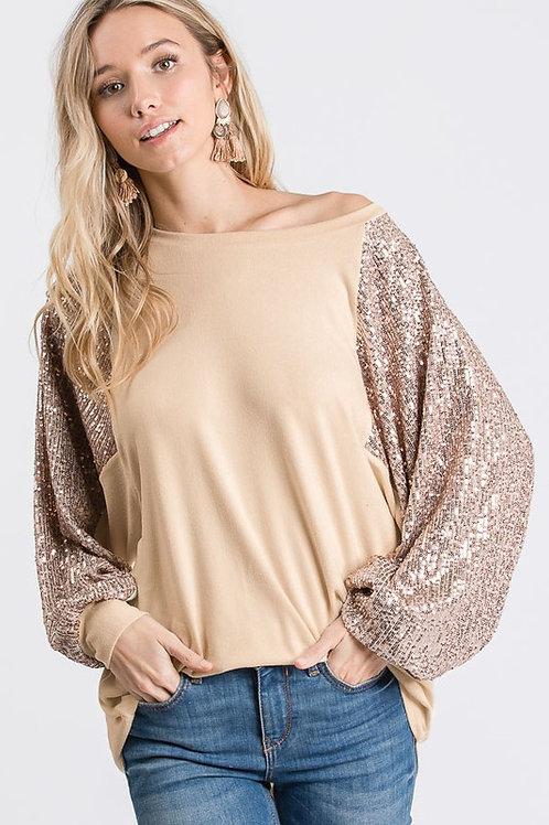 Bubble Sleeve Sequin Top