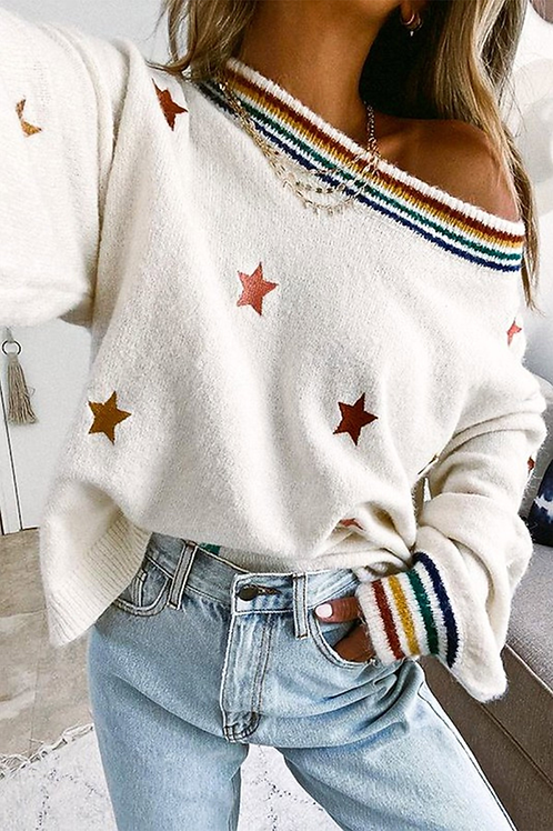 Ombre Embroidered Star Sweater