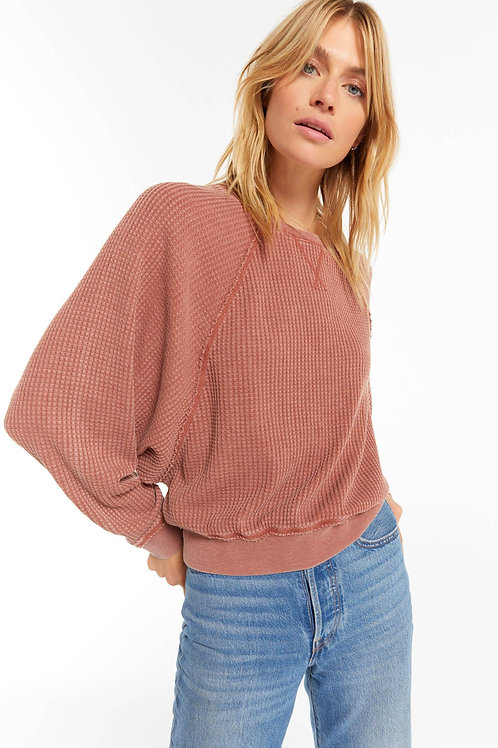 Z-Supply Claire Waffle Long Sleeve in Russet