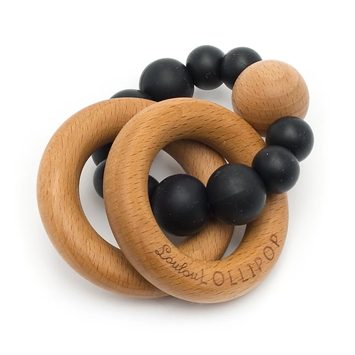Black Bubble Silicone and Wood Teether
