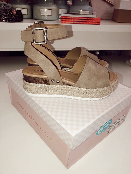 Open Toe Espadrille Wedge Sandal
