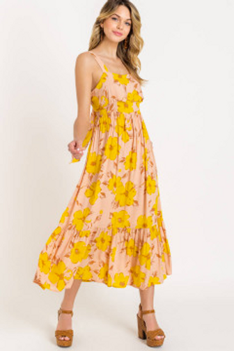 Printed Tie Back Tiered Maxi Dress