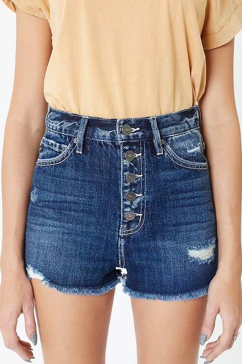 Kan Can Dark Fray Jean Shorts