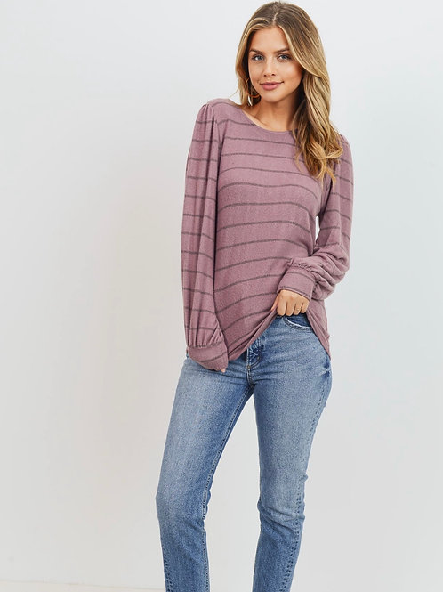 Twist Back Striped Long Sleeve