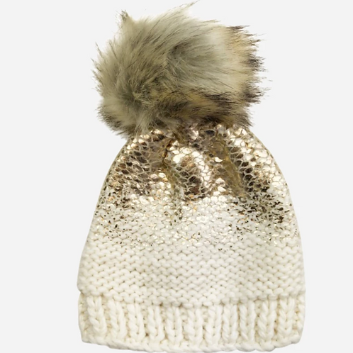 Cream and Gold Pom Beanie