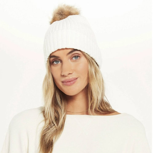 Ribbed Knit White Beanie
