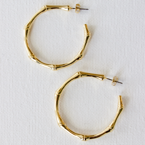 Thick Bamboo Hoop Earrings