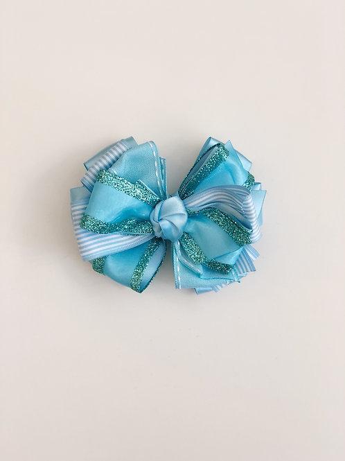Turquoise & White Stripe Layered Bow