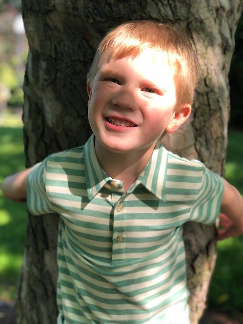 Toddler Boy Green/cream stripe polo