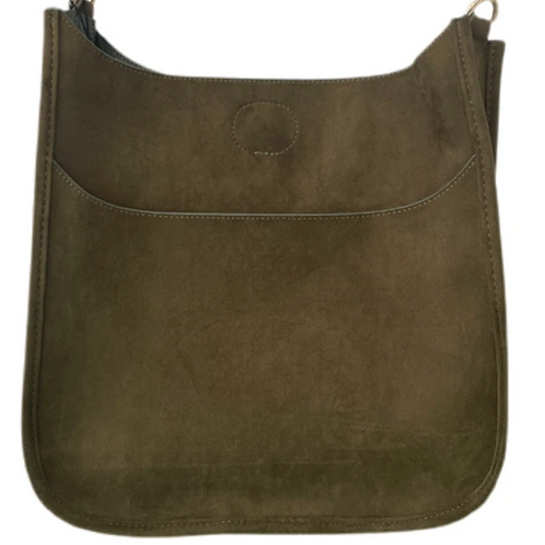 Army Green Faux Suede Messenger Bag