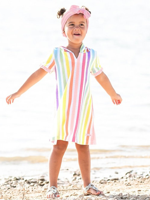 Rainbow Stripe Ruffle Terry Cover-Up