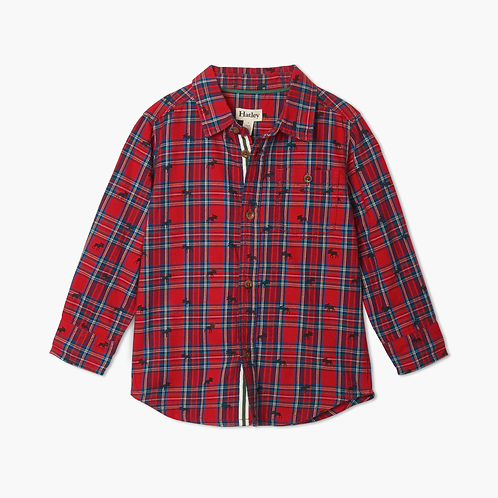 Toddler Holiday Plaid Moose Button Up