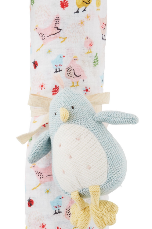 MudPie Chick Swaddle and Rattle Set