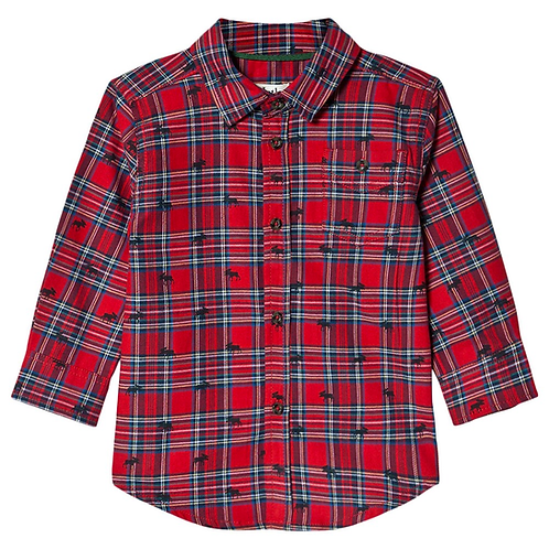 Infant Hatley Holiday Plaid Moose Button Down