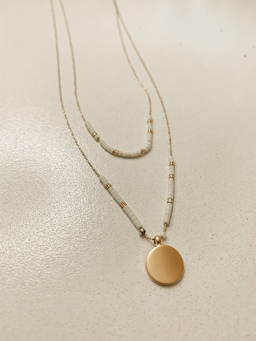 Dainty Gold and Cream Beaded Necklace