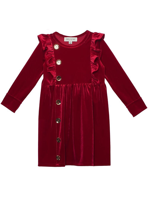 Isobella & Chloe Queen of Hearts Velvet Dress