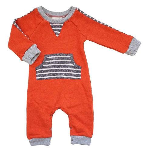 Orange Front Pocket Romper