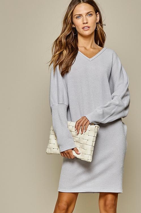 Grey Batwing Knit Dress